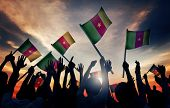 Silhouettes People Holding Flag Cameroon Concept