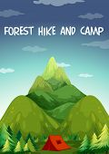 Illustration of a hiking site for camping