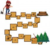 Illustration of boardgame with a lumber and forest