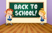 Illustration of a back to school sign with students