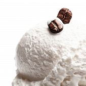 Vanilla Soft Ice Cream In Blue Bowl Isolated Over White Background. Ice-cream With Coffee Beans Macr