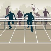 Illustration of businessmen racing to the finish over hurdle obstacles