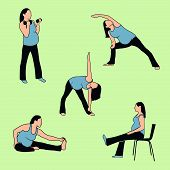 Healthy Pregnant Active Woman Exercise, Stretching, and Yoga Icons
