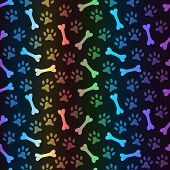 Animal spectrum seamless vector pattern of paw footprint