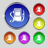 Gas, Fuel Station Sign Icon. Symbol. Set Of Colored Buttons. Vector