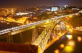 picture of dom  - Famous Dom Luis I bridge at night - JPG