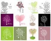 Decorative cards with beautiful tree