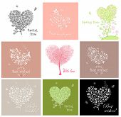Cute greeting cards with decorative tree