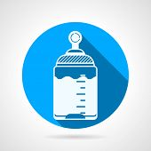 Round blue vector icon for baby bottle