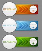 Abstract bright web headers design with arrows. Vector banners