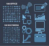 200 office, multimedia, music, audio, computer concept - flat isolated icons, signs, illustrations set, vector