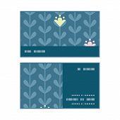 Vector blloming vines stripes horizontal stripe frame pattern business cards set