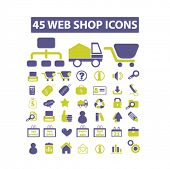 45 web shop, internet marketing, internet store concept - flat isolated icons, signs, illustrations set, vector