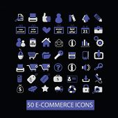 50 e-commerce, retail concept - flat isolated icons, signs, illustrations set, vector