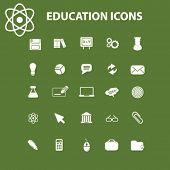 education, school, study, science, idea concept - flat isolated icons, signs, illustrations set, vector