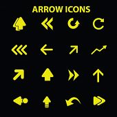 arrow, direction, navigation concept - flat isolated icons, signs, illustrations set, vector