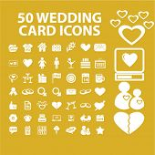 50 wedding, love, romance, relations concept - flat isolated icons, signs, illustrations set, vector