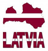 Latvia map flag and text illustration
