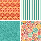 Vector abstract decorative circles set of four marching repeat patterns