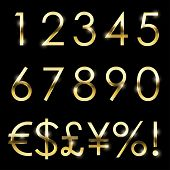 Vector gold font with additional currency, numbers and special symbols and signs.