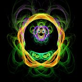 Abstract Fractal Colorful Structure Resembling Monkey's Head