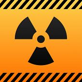 Radiation hazard black and yellow symbol.