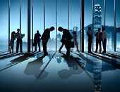 Business People Bowing Down Social Grace Agreement Partnership