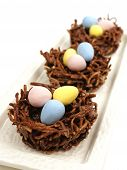Chocolate nests with Easter eggs