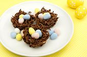 Chocolate Nests Filled With Easter Eggs