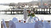 Romantic Restaurant Table By The Sea