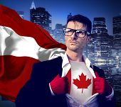 Superhero Businessman Canadian Cityscape Concept