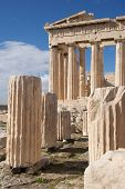 stock photo of parthenon  - Ruined marble columns in front of Parthenon - JPG