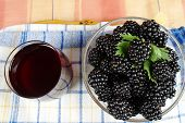 Mulberries And Juice View From Above