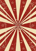 Red sunbeams stars. A vintage poster with sunbeams for your advertising.