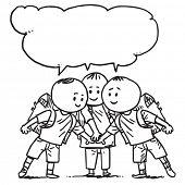 Schoolkids together speaking