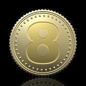 Golden number 8 isolated on black background