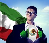 Businessman Superhero Country Mexico Flag Culture Power Concept