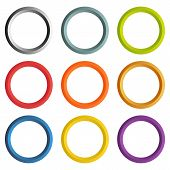 Collection Of 9 Isolated Circle Frames With White Copyspace