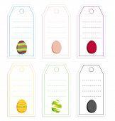 Collection Of 6 Colorful Tags With Easter Eggs