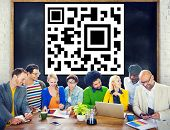 Diversity Casual People Brainstorming Bar Code Identity Concept