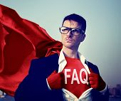 Strong Superhero Businessman FAQ Concepts