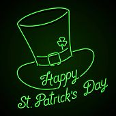 Glowing neon sign - Happy St. Patrick's Day lettering with leprechaun hat and shamrock