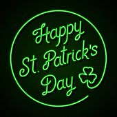 Glowing neon sign - Happy St. Patrick's Day lettering with shamrock