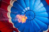Inside Of A Hot Air Balloon With Flame
