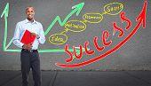 Executive Businessman near  business scheme background. Success.