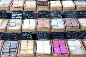 bars of soap, market in Forcalquier, Provence, France