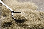 brown cane sugar with silver spoon
