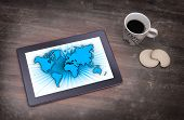 World Map On A Tablet