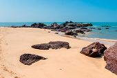 Beautiful Landscape Of Beach With Sand And Stones