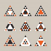 Geometrical orange tile equilateral triangles icons set